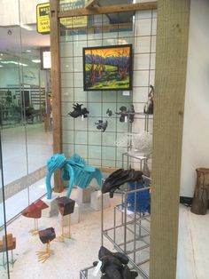 "Friday 1st August....front window ready to go. Turquoise bulldog ""Clive"" (by Lyndsey Hatchwell) on guard in the window!"