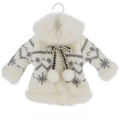 Bloomingdale's Knit Winter Coat Ornament ($10) ❤ liked on Polyvore featuring home, home decor, holiday decorations, whimsical ornaments, miniature ornaments, mini ornaments and whimsical home decor