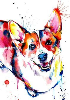 Colorful and splashy CORGI Art Print - Print of my Original Watercolor Painting by WeekdayBest on Etsy https://www.etsy.com/listing/219293976/colorful-and-splashy-corgi-art-print