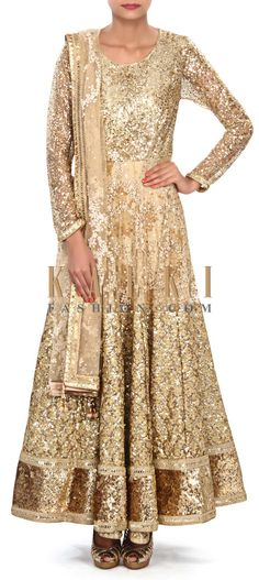 Buy Online from the link below. We ship worldwide (Free Shipping over US$100) Price- $1369 Click Anywhere to Tag http://www.kalkifashion.com/beige-anarkali-suit-embellished-in-sequin-and-thread-embroidery-only-on-kalki.html
