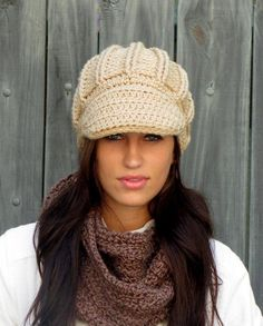 Oversized Newsboy Hat Crochet Cap