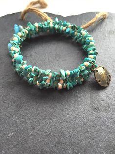 Turquoise and cream wrap bracelet gemstone wrap by HandmadeByKikiJ