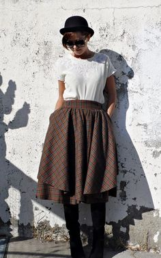 Vintage Tartan Culottes / Skirt Shorts by tomacrafts on Etsy, €30.00