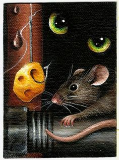 """Items similar to 2 X 3 ACEO """"Don't Take the Bait"""" Cat 'n Mouse Original Acrylic Painting on Etsy Best Mouse Bait, Shadow Illustration, Art Illustrations, The Bait, Artist Trading Cards, Light And Shadow, Colored Pencils, Line Art, Special Gifts"""