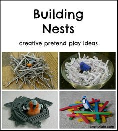 Building nests is great for creative pretend play. Items like shredded paper, craft sticks, cushions, twigs and train track can be used!
