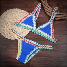 Handmade Crochet Triangle Bikini Color Knit