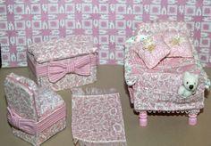 Child's miniature pink bedroom http://stores.ebay.com/happyharvesterminiatures