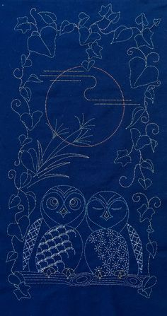 Sashiko panel from Indigo Niche measures 112cm x 60cm. It incorporates some traditional sashiko designs in the owls, and makes for an excellent beginner's project.