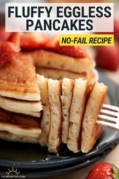 Need to make eggless pancakes? These pancakes without eggs are easy to make, and my family loves how incredibly fluffy and delicious they taste! Pancake Recipe Without Eggs, Eggless Pancake Recipe, Eggless Recipes, Eggless Baking, Waffle Recipes, Easy Waffle Recipe No Eggs, Egg Substitute For Pancakes, Baking Without Eggs, Pancake Recipes