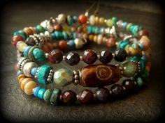 Gypsy, Boho, Dzi Agate, Turquoise, Country Gril, South West, Gemstone, Bolo Leather ,Tribal, Beaded Memory Wire,Wrap, Charm Bracelet by YuccaBloom on Etsy
