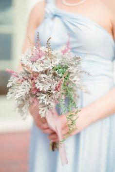 Dusty Miller Bridesmaid Bouquet | Victoria Blooms https://www.theknot.com/marketplace/victoria-blooms-sarasota-fl-554993 | Hunter Ryan Photo https://www.theknot.com/marketplace/hunter-ryan-photo-fort-myers-fl-603955