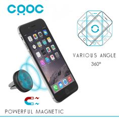 CRDC Car Phone Holder for Iphone Sumsung etc, Magnetic Air Vent Mount Car Holder 360 Degree Soporte Movil Mobile Car Phone Stand