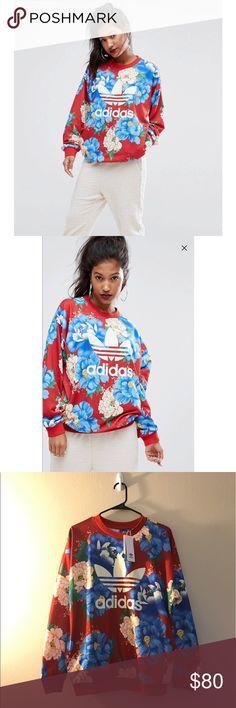 RARE floral adidas sweatshirt -small- Red Floral Crewneck Sweatshirt BNWT OBO 🤗 adidas Sweaters Crew & Scoop Necks