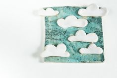 6 CLOUDS in the SKY, unique ceramic tile, handmade in Ireland, one of a kind