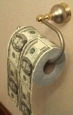 Now that is one expensive roll of toilet paper! Theme Tattoo, Toilet Pictures, Toilet Paper Humor, Money Bill, Most Expensive, Rich People, Normal People, How To Get Rich, Funny Photos