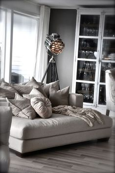 New corner seating living room chaise lounges ideas My Living Room, Home And Living, Living Room Decor, Living Spaces, Cozy Living, Small Living, Chair And A Half, Decoration Inspiration, Interior Inspiration