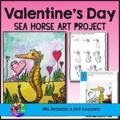 Create a Valentine's Day Sea Horse with Hearts art piece using Oil Pastels and Paint! Your students will really love this! This product is complete with a visual and text step-by-step (each step on its own page with description), a rubric for marking, a heart tracing sheet, and a step-by-step how to draw the sea horse to allow your students to create this piece successfully!All art lessons are original ideas by Ms Artastic.