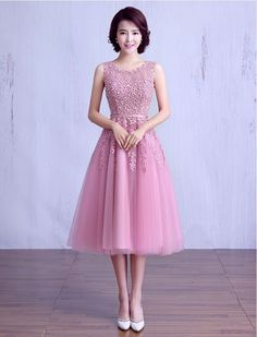 1950s Inspired Beaded Lace Prom Dress