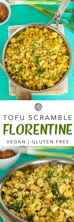 Scrambled Tofu Florentine: a light, low-maintenance breakfast that you can keep coming back to. Tofu scramble is a breakfast staple for its texture, look and taste so similar to scrambled eggs! Tofu Recipes, Delicious Vegan Recipes, Clean Recipes, Whole Food Recipes, Vegetarian Recipes, Cooking Recipes, Healthy Recipes, Vegan Breakfast Recipes, Brunch Recipes
