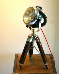 Our table lamps are a great larger size (up to 3ft tall). All are 1960s vintage Ural motorcycle headlights transformed into amazing accent points for your home office or retail spaces.  These lamps have LED lights professional paint and cloth covered cords.  Original speedometers and the removable ignition key now turns on the lamp!  http://ift.tt/1eM6BKu. #vintage #vintagemotorcycle #motorcycle #antique #restoration #ural #upcycle #interior #interiordesigner #interiordesign #homedécor…