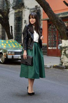 Biker Jacket + White Blouse + Green Midi Skirt