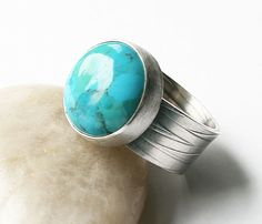 Turquoise and Sterling Silver Ring - Wide Band Textured Comfortable Fit Modern Design