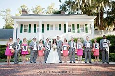 with 6 bridesmaids and 6 groomsmen, we can spell out Mr. & Mrs. Conner, if we wanted to!