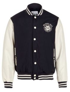 "Navy and White Twill Baseball Jacket newlook.com #TwilightForever  ""Cullen style"""