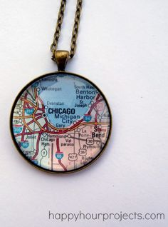 DIY Glass Map Necklace. I'm going to do this with 29 palms so I always have him with me <3