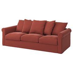 GRÖNLID 3-seters sofa - Ljungen mørk rød - IKEA Sofa Back Cushions, Deep Seat Cushions, 3 Seat Sofa Bed, Sleeper Sofa, Mattress Covers, Foam Mattress, Ikea Family, Lazy Days