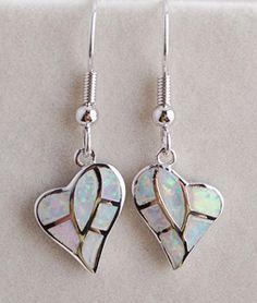 925 Sterling Silver Mother Of Pearl Heart Shaped Opal Earrings Http