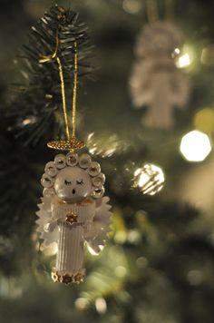 Pasta Angel Ornaments tutorial #crafts #DIY