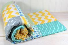 unisex baby BLANKETS | Baby Blanket - Unisex Patchwork Baby Blanket - Teal Blue, Yellow and ...