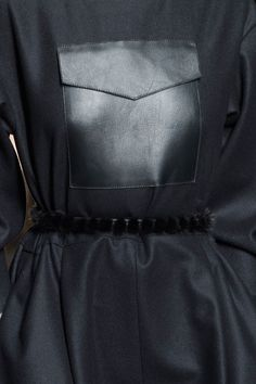 Wool dress with large leather pocket detail; close up fashion details // Fendi Fall 2015