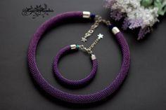 Purple jewelry set, Mother in law gift, Purple necklace, Purple bracelet, Seed b… – Gift Ideas Purple Necklace, Purple Jewelry, Seed Bead Necklace, Beaded Necklace, Black Necklace, Women's Jewelry Sets, Womens Jewelry Rings, Jewelry Gifts, Women Jewelry