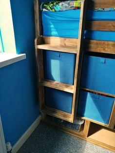 Bulkhead bed steps with inbuilt storage boxes - box room makeover Box Room Bedroom Ideas For Kids, Box Room Beds, Storage Boxes, Bed Storage, Storage Ideas, Bulkhead Bedroom, Bed Steps, Diy Wardrobe, Clever Diy