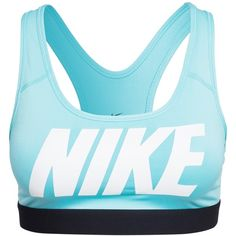Nike Pro Classic Logo Bra ($50) ❤ liked on Polyvore featuring activewear, sports bras, tops, nike, workout, aqua, sports fashion, womens-fashion, sports bra and racerback sports bra