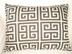 Decorative Pillow Accent Pillow Throw Pillow Cushion Cover Brown Natural Greek Key - One 12 x 16 Lumbar. $14.00, via Etsy.