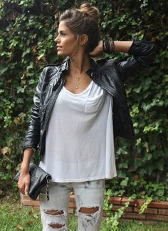 leather biker jacket + white tee + ripped white jeans