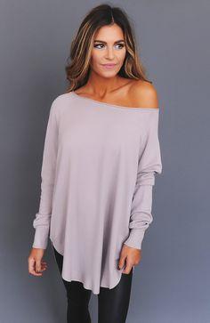 Solid Curved Hem Sweater- Mauve - Dottie Couture Boutique
