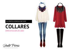 Cómo jugar con los collares para actualizar los estilismos y transformar las prendas básicas. #looks #collares #complementos