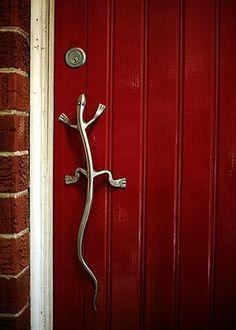 Lizard handle on blood red door - it reminds me of my parents front door. They…
