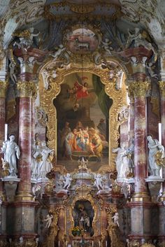 Sanctuary of the Pilgrimage Church of the Scourged Saviour in Wies, Bavaria, Germany. The beautiful Rococo interiors were the work of Dominikus and Johann Zimmermann of Wessobrunn in 1745, and the church was declared a UNESCO World Heritage Site in 1983.