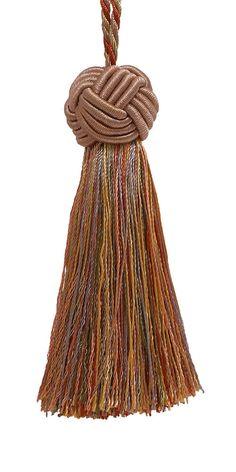 "Decorative 3.5"" Tassel / Lt Bronze, Olive Green, Terracotta / Baroque Collection #DecoPro"