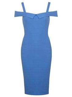 Hellblaues, figurbetontes Kleid im Bardot-Stil