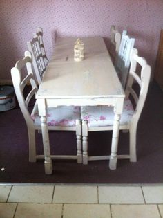 My Up Cycled Shabby Chic Table And Chairs, Found On The Internet Separately  And Given A Good Sand Down And New Paint Job :) | DIY | Pinterest | Shabby,  ...
