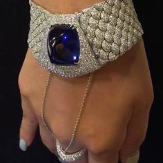 Fabulous tanzanite & diamond cuff bracelet with ring chain