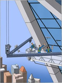 """""""The world above the fortieth floor is an almost silent one."""" From the archive, a story about the lives of window washers: http://nyr.kr/1BaoQ5i (Illustration by Guy Billout)"""