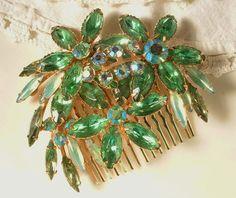 Shades of Green Rhinestone Bridal Hair Comb - 22K Gold TRUE Vintage Heirloom Jeweled Hair Comb