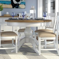 Breakwater Bay Bellemoor Dining Table Round Dining Table, White Paints, Kitchen Backsplash, Beach House, Room, Furniture, Home Decor, Kitchen Ideas, Farmhouse